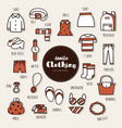 set of clothing icons doodle vector image