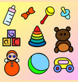 set of colorful baby toys vector image