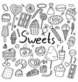 set of hand drawn doodle sweets vector image