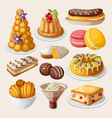 set traditional french desserts vector image vector image