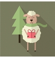 Sheep with gift and tree vector image vector image