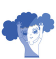 silhouette pretty girl with hairstyle and casual vector image vector image