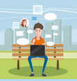 teenager using laptop in a bench in the park vector image vector image