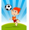 The boy playing soccer cartoon vector image vector image