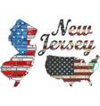 USA state of New Jersey on a brick wall vector image vector image
