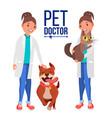 veterinarian woman dog and cat clinic for vector image vector image