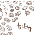 vintage bakery products sketch background vector image