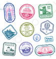 vintage passport travel stamps with vector image vector image