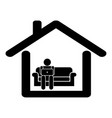work from home pictograph depicting man working vector image