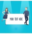 man woman couple holding sign banner which you can vector image