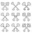 Set of crossed keys design elements vector image