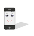 comic smartphone with eye and smile vector image