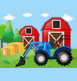 farm scene with tractor on the field vector image