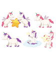 a set unicorn character vector image