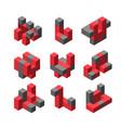 abstract isometric logotype vector image vector image