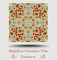 azulejo ceramic tile in beige olive green and red vector image vector image