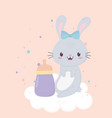 bashower little bunny bottle card cartoon vector image