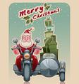 biker santa vector image vector image