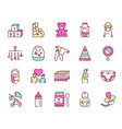 birth a child color linear icons set vector image