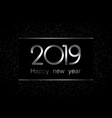 black and silver 2019 new year background vector image vector image