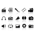 black multimedia icons set vector image