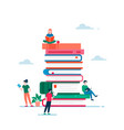 book and people poster flat vector image vector image