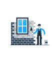 Brick wall layer worker with window vector image vector image