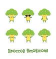 broccoli smiles cute cartoon emoticons emoji vector image vector image
