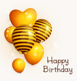 bunch of birthday yellow balloons with pattern vector image