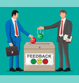 business people and rating box vector image vector image