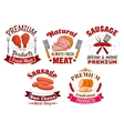 Butchery meat food and sausages emblems vector image vector image