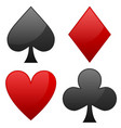 card suit symbols spade heart diamond and club vector image