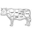 Cartoon beef meat cuts diagram line art