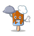 Chef ice cream character cartoon with food
