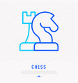 chess thin line icon horse and queen vector image