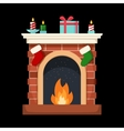 Christmas fireplace icon flat vector image