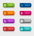 Colored set rectangular square web buttons design vector image vector image