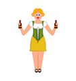 cute girl with pair of beer bottles oktoberfest vector image