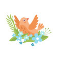cute little orange bird flapping wings symbol of vector image vector image
