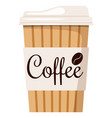 disposable kraft brown white paper hot coffee vector image vector image