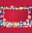 greeting card with balloons white frame and neon vector image vector image
