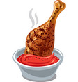 grilled chicken drumstick vector image vector image