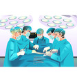 group surgeons doing surgery vector image