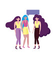 group women young characters talking bubble vector image