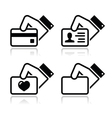 Hand holding credit card business card ID icons vector image vector image
