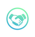 handshake partnership deal icon over white vector image