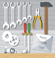 Happy Labor Day with tools set Digital image vector image vector image
