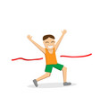 happy male runner cross the finish line vector image vector image