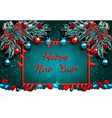 happy new year greeting card with decorations on vector image vector image
