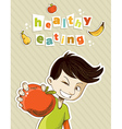 Happy teenager present healthy food vector image vector image